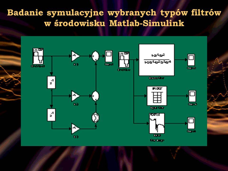 6 Badanie symulacyjne wybranych typów filtrów w środowisku Matlab-Simulink.