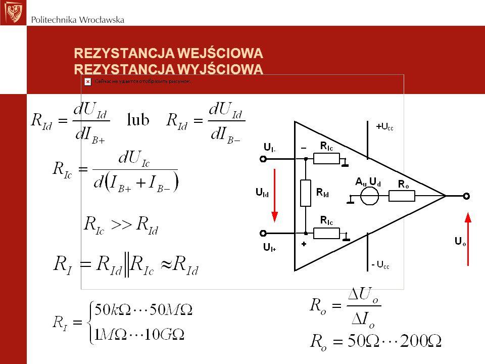 NAPIĘCIA PRĄDY ZAKRES ZMIAN NAPIĘCIA WEJŚCIOWEGO (input voltage range) Największy zakres zmian napięcia na każdym z wejść (w stosunku do masy) przy którym wzmacniacz pracuje prawidłowo Maksymalne (dopuszczalne) napięcie różnicowe między wejściami MAKSYMALNE NAPIĘCIE WYJŚCIOWE (output voltage swing) Największy skok napięcia wyjściowego (w stosunku do masy) przy którym wzmacniacz pracuje prawidłowo (bez nasycenia) MAKSYMALNY PRĄD WYJŚCIOWY (peak output current) Największy prąd, jaki można pobrać z wyjścia wzmacniacza przy prawidłowej jego pracy I o = 5mA...