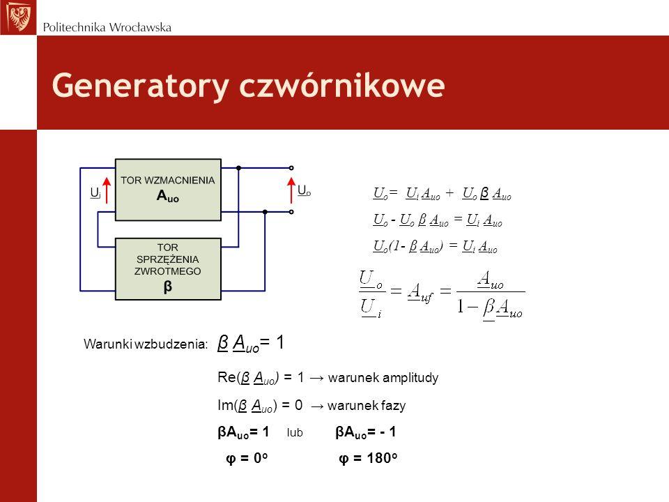 Generatory czwórnikowe U o = U i A uo + U o β A uo U o - U o β A uo = U i A uo U o (1- β A uo ) = U i A uo Warunki wzbudzenia: β A uo = 1 Re(β A uo )