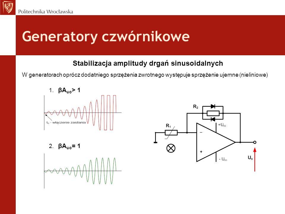 Generatory czwórnikowe Stabilizacja amplitudy drgań sinusoidalnych W generatorach oprócz dodatniego sprzężenia zwrotnego występuje sprzężenie ujemne (