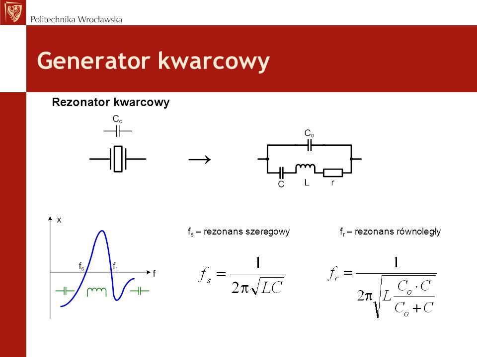Generator kwarcowy Rezonator kwarcowy f s – rezonans szeregowyf r – rezonans równoległy