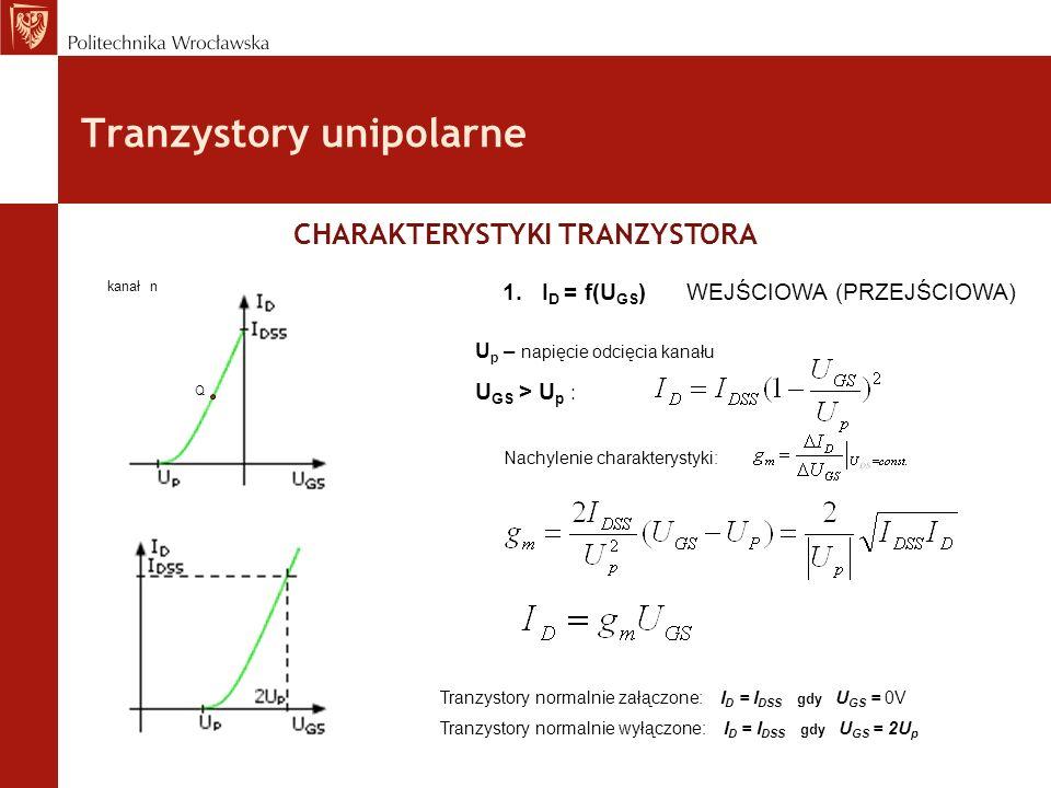Tranzystory unipolarne CHARAKTERYSTYKI TRANZYSTORA 1.I D = f(U GS ) WEJŚCIOWA (PRZEJŚCIOWA) U p – napięcie odcięcia kanału U GS > U p : kanał n Nachyl