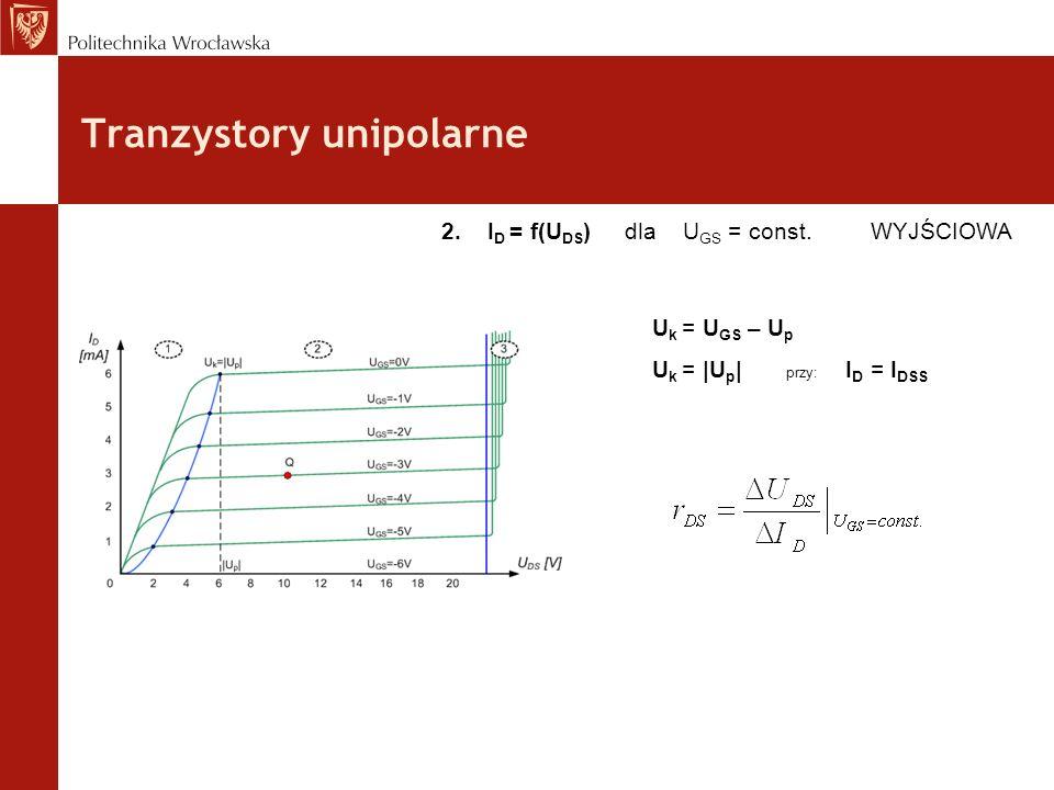 Tranzystory unipolarne 2. I D = f(U DS ) dla U GS = const. WYJŚCIOWA U k = U GS – U p U k = |U p | przy: I D = I DSS