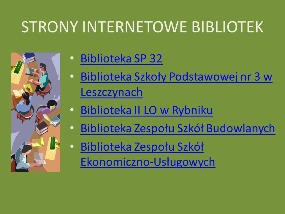 STRONY INTERNETOWE BIBLIOTEK Biblioteka SP 32 Biblioteka Szkoły Podstawowej nr 3 w Leszczynach Biblioteka Szkoły Podstawowej nr 3 w Leszczynach Biblio