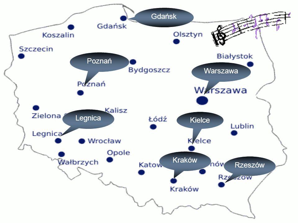 Kraków Warszawa Kielce Gdańsk Poznań Rzeszów Legnica