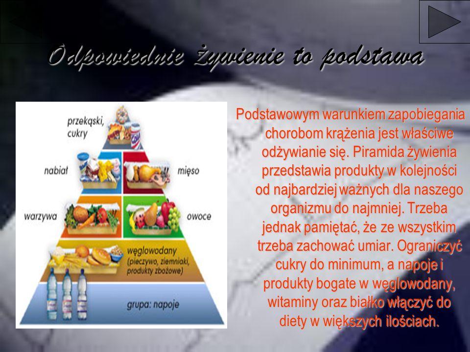 Odpowiednie ż ywienie to podstawa Podstawowym warunkiem zapobiegania chorobom krążenia jest właściwe odżywianie się. Piramida żywienia przedstawia pro