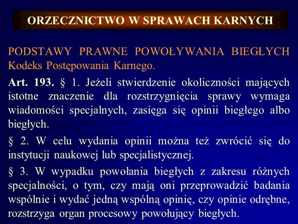 ORZECZNICTWO W SPRAWACH KARNYCH STARY KODEKS KARNY Art.