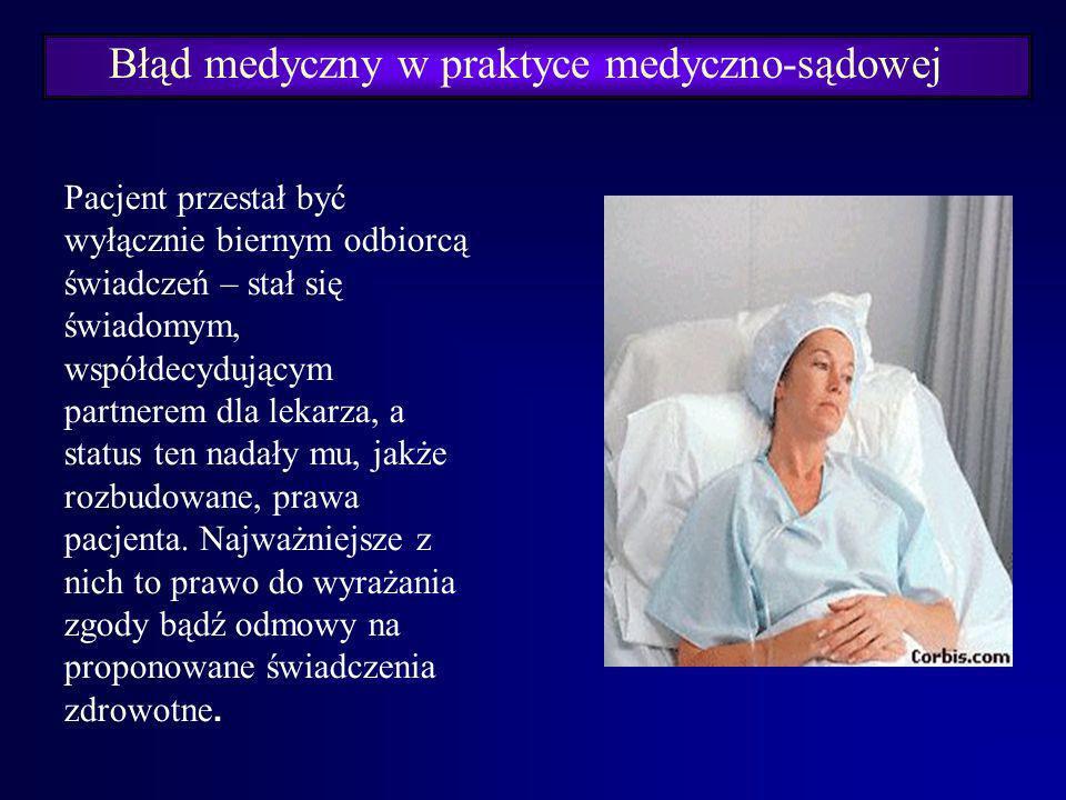 Błąd medyczny w praktyce medyczno-sądowej Kodeks Etyki Lekarskiej (2004 r.) Art. 4.: Dla wypełnienia swoich zadań lekarz powinien zachować swobodę dzi