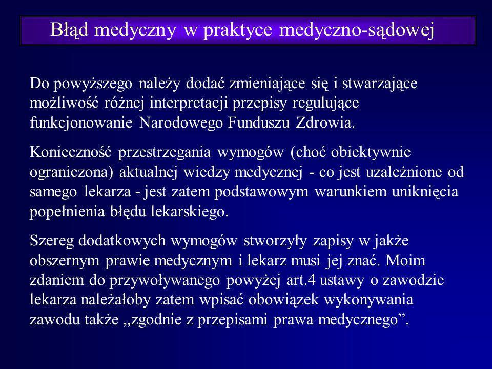 Błąd medyczny w praktyce medyczno-sądowej Art. 192 kodeksu karnego: § 1. Kto wykonuje zabieg leczniczy bez zgody pacjenta – podlega grzywnie, karze og