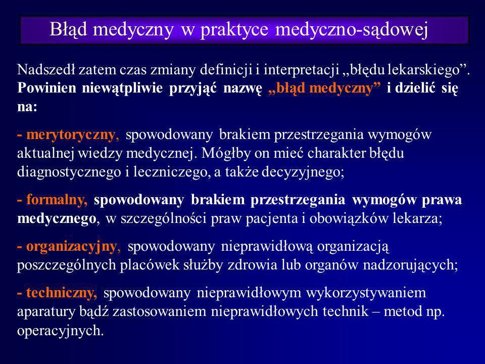 Błąd medyczny w praktyce medyczno-sądowej W żadnych przepisach prawa medycznego nie ma jednak przyzwolenia na zaniechanie działań lekarza. Art. 2. kod