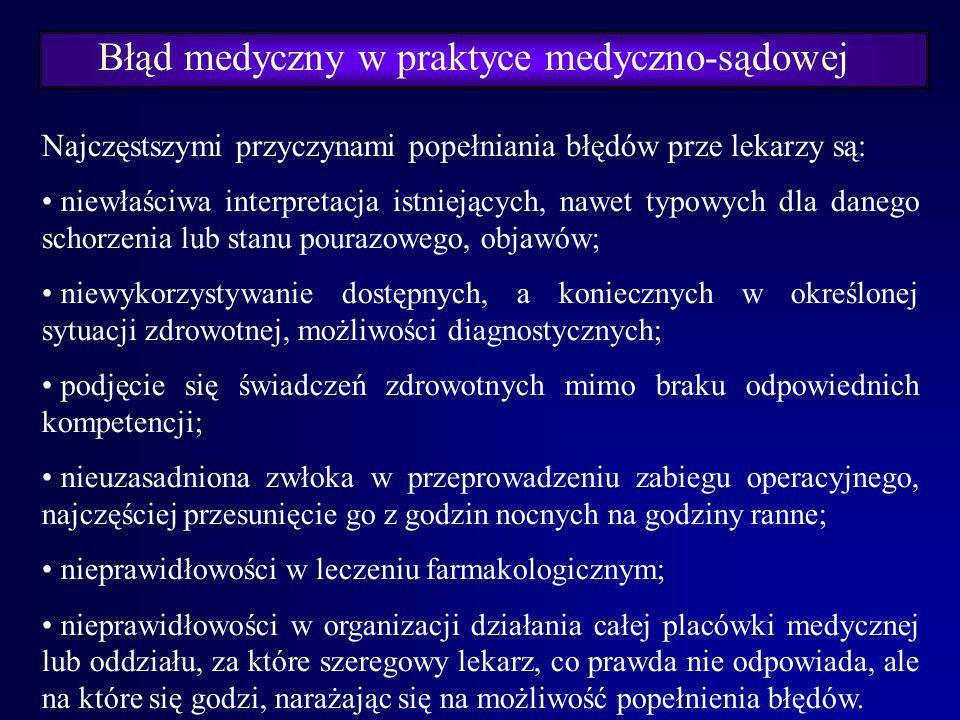 Błąd medyczny w praktyce medyczno-sądowej Największa ilość spraw dotyczy schorzeń: chirurgicznych, neurochirurgicznych, położniczych, internistycznych