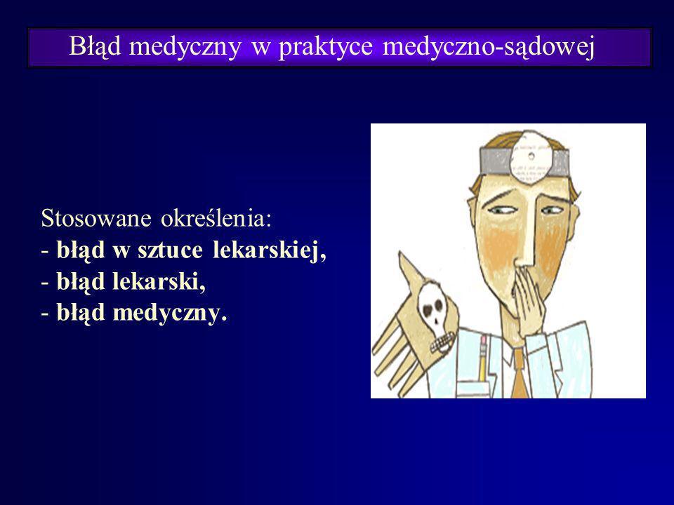 Błąd medyczny w praktyce medyczno-sądowej Historia medycyny to zarazem historia popełnianych przez lekarzy błędów- diagnostycznych i leczniczych. Pogł