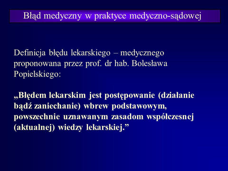Błąd medyczny w praktyce medyczno-sądowej Stosowane określenia: - błąd w sztuce lekarskiej, - błąd lekarski, - błąd medyczny.