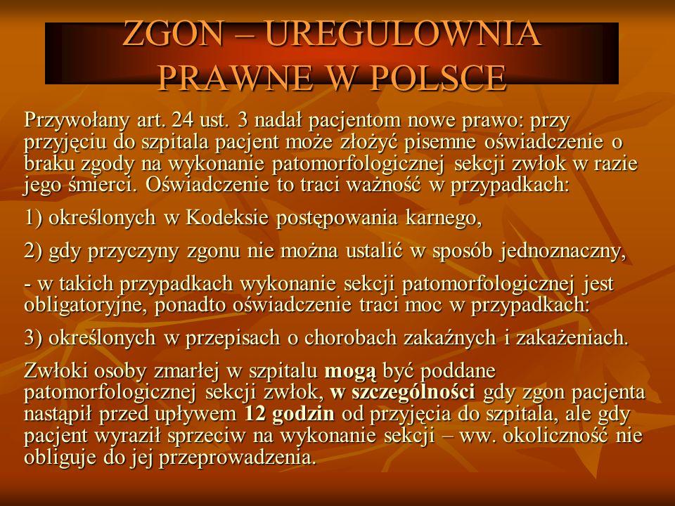 ZGON – UREGULOWNIA PRAWNE W POLSCE Przywołany art. 24 ust. 3 nadał pacjentom nowe prawo: przy przyjęciu do szpitala pacjent może złożyć pisemne oświad