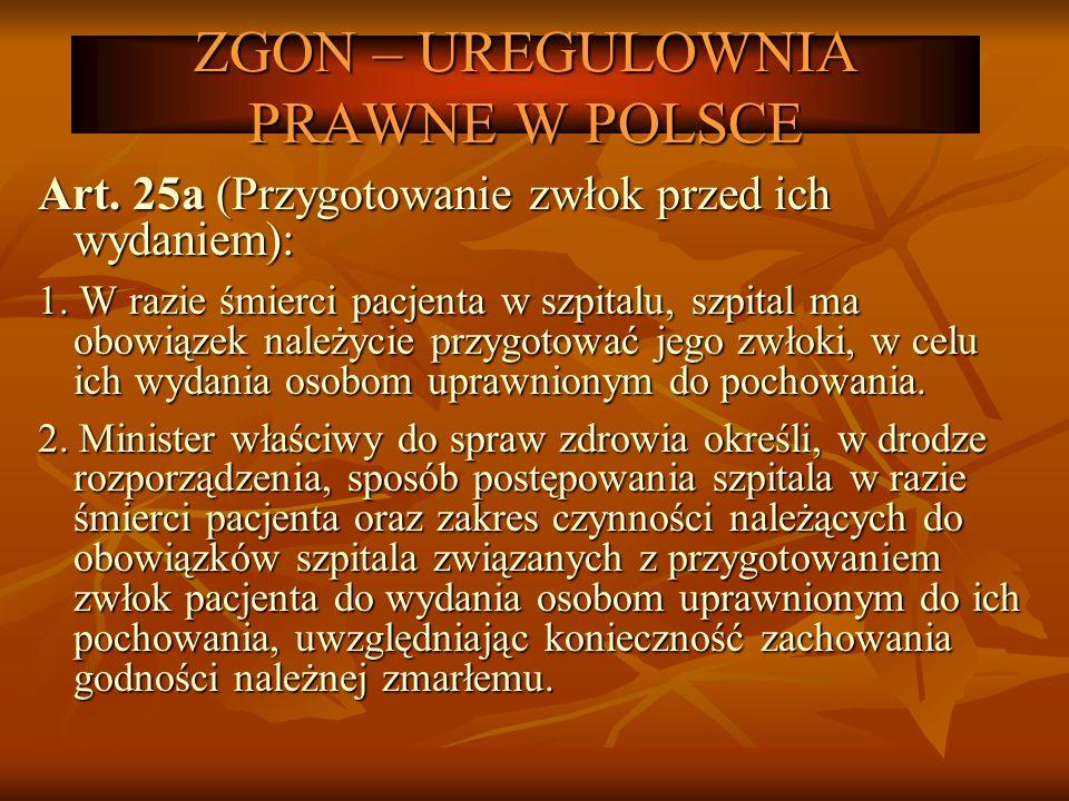 ZGON – UREGULOWNIA PRAWNE W POLSCE Art. 25a (Przygotowanie zwłok przed ich wydaniem): 1. W razie śmierci pacjenta w szpitalu, szpital ma obowiązek nal