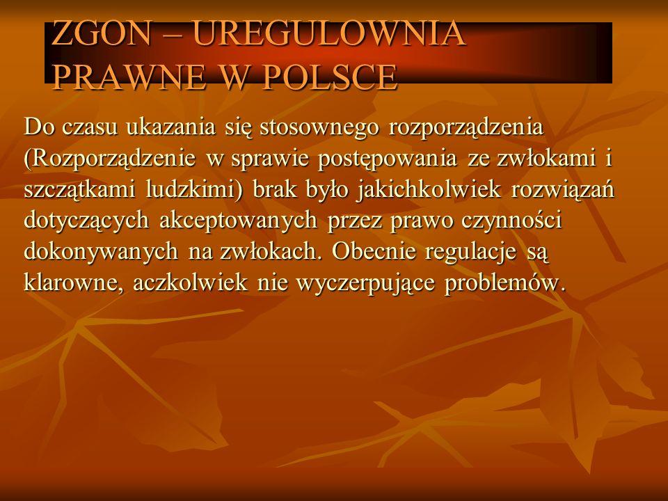 ZGON – UREGULOWNIA PRAWNE W POLSCE Do czasu ukazania się stosownego rozporządzenia (Rozporządzenie w sprawie postępowania ze zwłokami i szczątkami lud