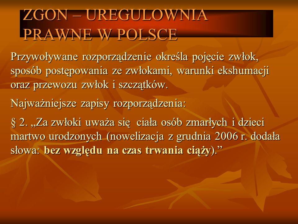 ZGON – UREGULOWNIA PRAWNE W POLSCE Przywoływane rozporządzenie określa pojęcie zwłok, sposób postępowania ze zwłokami, warunki ekshumacji oraz przewoz