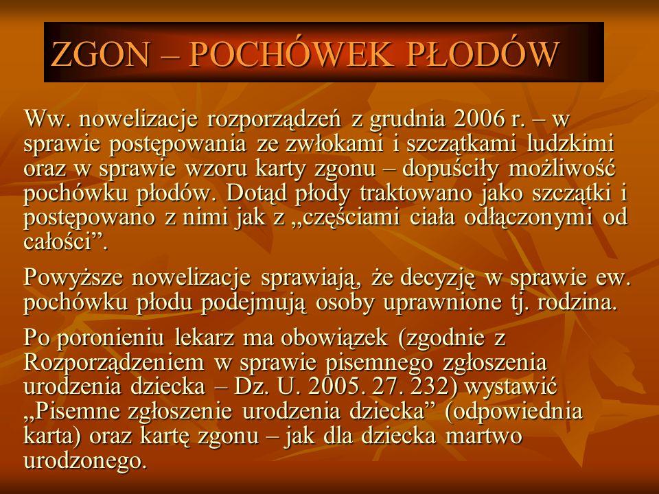 ZGON – POCHÓWEK PŁODÓW Ww. nowelizacje rozporządzeń z grudnia 2006 r. – w sprawie postępowania ze zwłokami i szczątkami ludzkimi oraz w sprawie wzoru