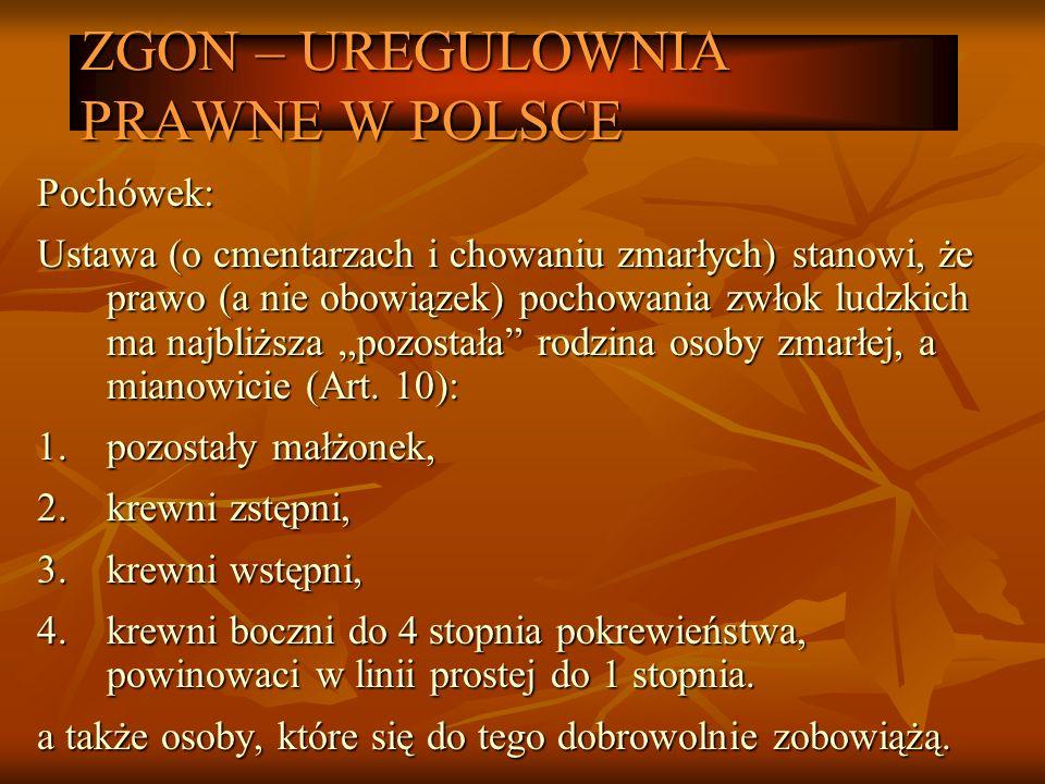 ZGON – UREGULOWNIA PRAWNE W POLSCE Pochówek: Ustawa (o cmentarzach i chowaniu zmarłych) stanowi, że prawo (a nie obowiązek) pochowania zwłok ludzkich