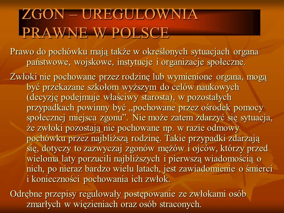 ZGON – UREGULOWNIA PRAWNE W POLSCE Prawo do pochówku mają także w określonych sytuacjach organa państwowe, wojskowe, instytucje i organizacje społeczn