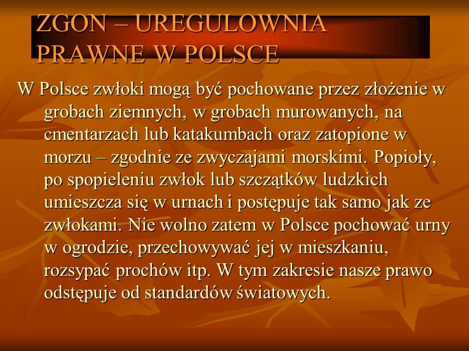 ZGON – UREGULOWNIA PRAWNE W POLSCE W Polsce zwłoki mogą być pochowane przez złożenie w grobach ziemnych, w grobach murowanych, na cmentarzach lub kata