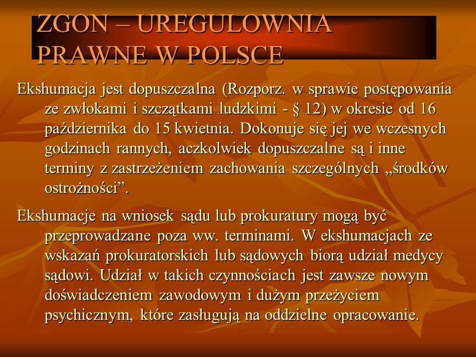 ZGON – UREGULOWNIA PRAWNE W POLSCE Ekshumacja jest dopuszczalna (Rozporz. w sprawie postępowania ze zwłokami i szczątkami ludzkimi - § 12) w okresie o