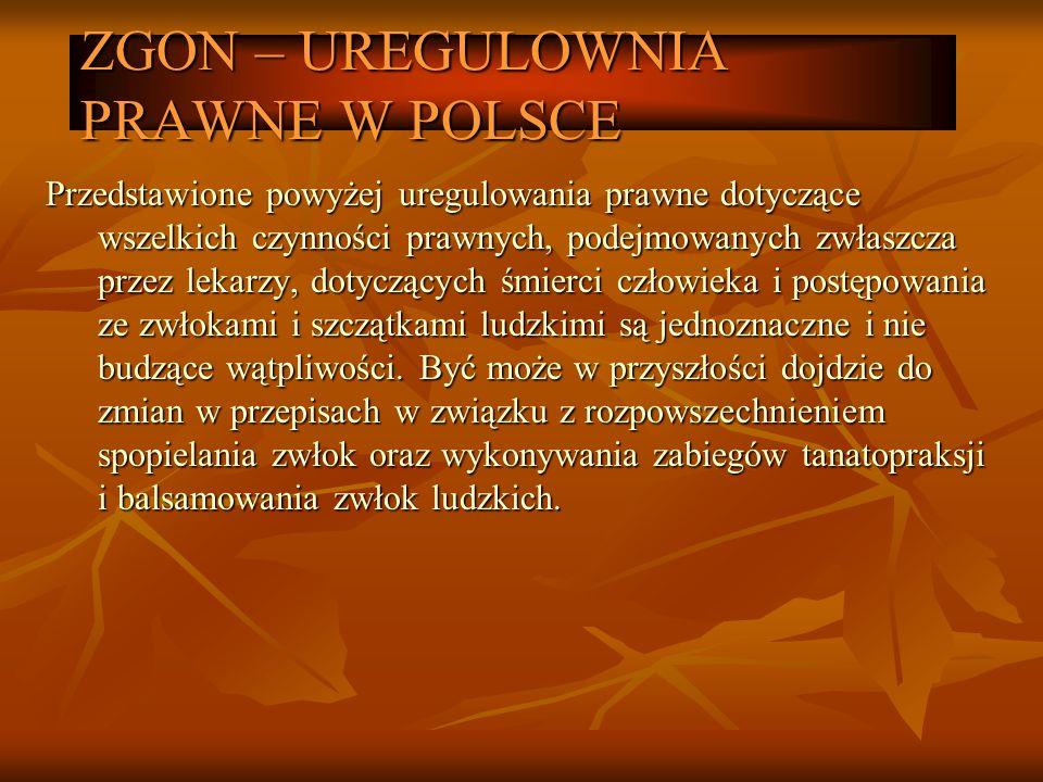 ZGON – UREGULOWNIA PRAWNE W POLSCE Przedstawione powyżej uregulowania prawne dotyczące wszelkich czynności prawnych, podejmowanych zwłaszcza przez lek