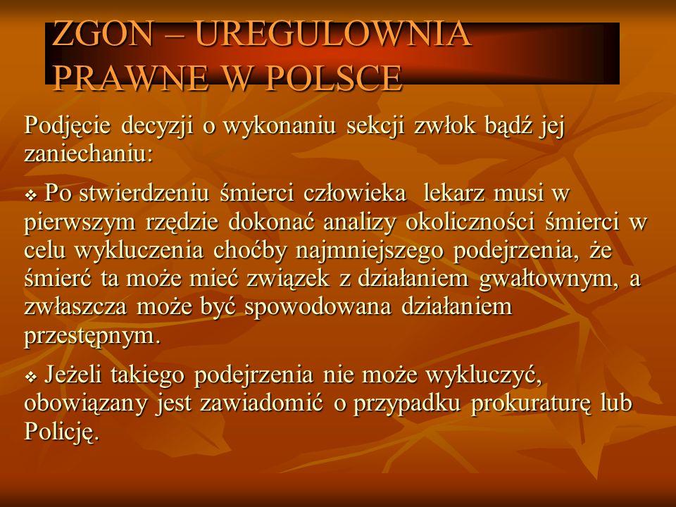 ZGON – UREGULOWNIA PRAWNE W POLSCE Podjęcie decyzji o wykonaniu sekcji zwłok bądź jej zaniechaniu: Po stwierdzeniu śmierci człowieka lekarz musi w pie