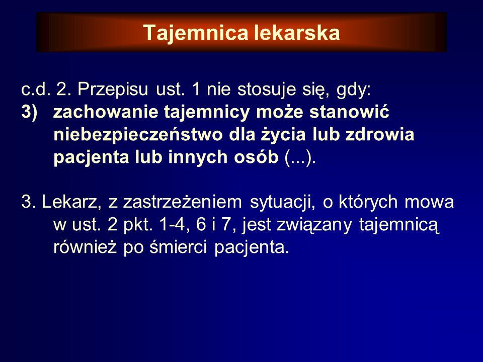 Tajemnica lekarska c.d.2. Przepisu ust.