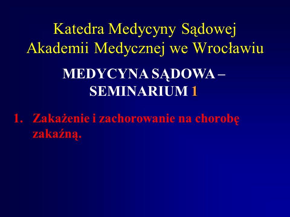 Katedra Medycyny Sądowej Akademii Medycznej we Wrocławiu 1.Zakażenie i zachorowanie na chorobę zakaźną.