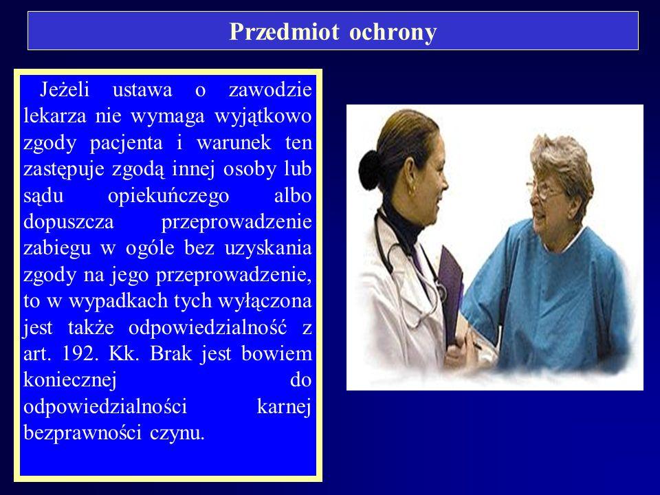 Przedmiot ochrony A. Zoll: Przedmiotem ochrony w wypadku czynu zabronionego określonego w art. 192 jest autonomia pacjenta wobec zabiegów leczniczych,