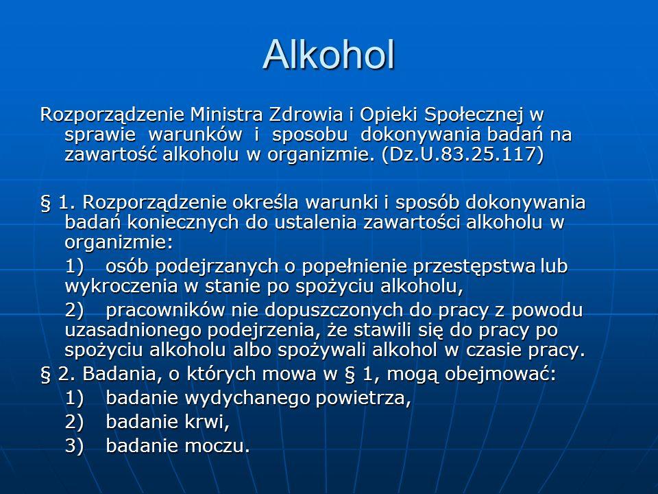 Alkohol Rozporządzenie Ministra Zdrowia i Opieki Społecznej w sprawie warunków i sposobu dokonywania badań na zawartość alkoholu w organizmie. (Dz.U.8