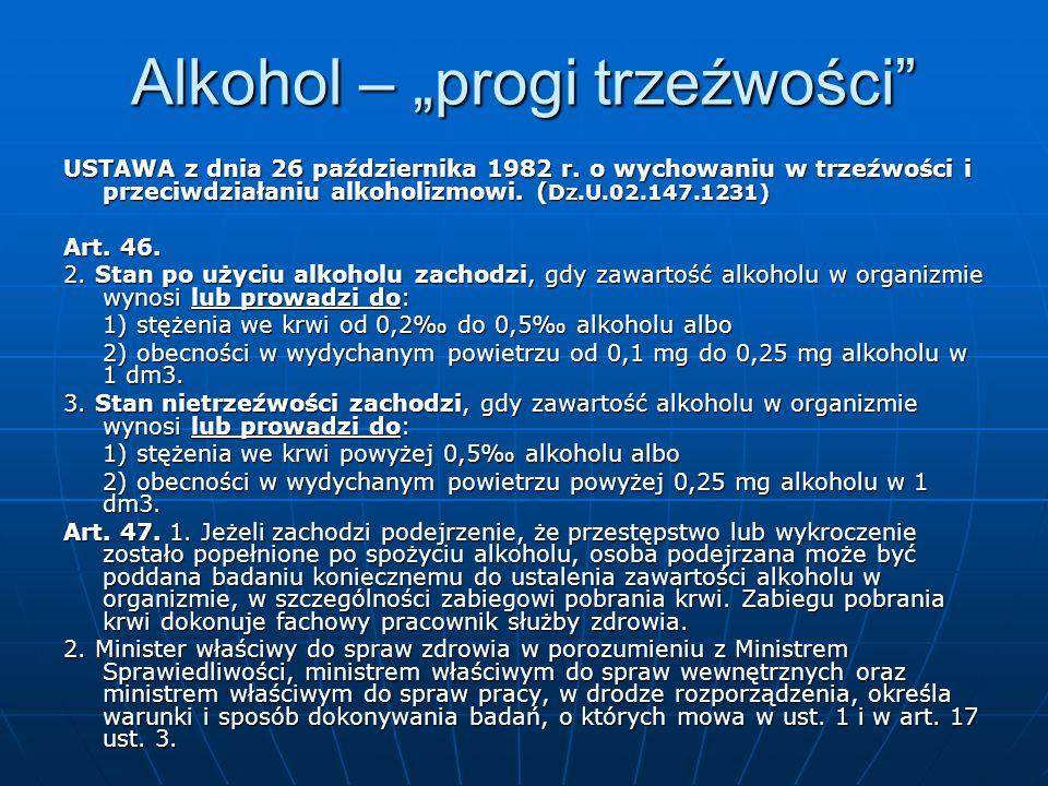 Alkohol – progi trzeźwości USTAWA z dnia 26 października 1982 r. o wychowaniu w trzeźwości i przeciwdziałaniu alkoholizmowi. ( Dz.U.02.147.1231) Art.