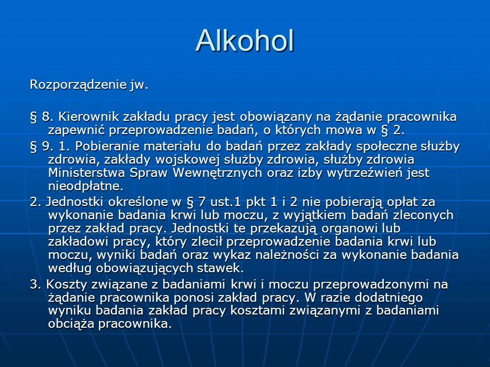 Alkohol Rozporządzenie jw. § 8. Kierownik zakładu pracy jest obowiązany na żądanie pracownika zapewnić przeprowadzenie badań, o których mowa w § 2. §