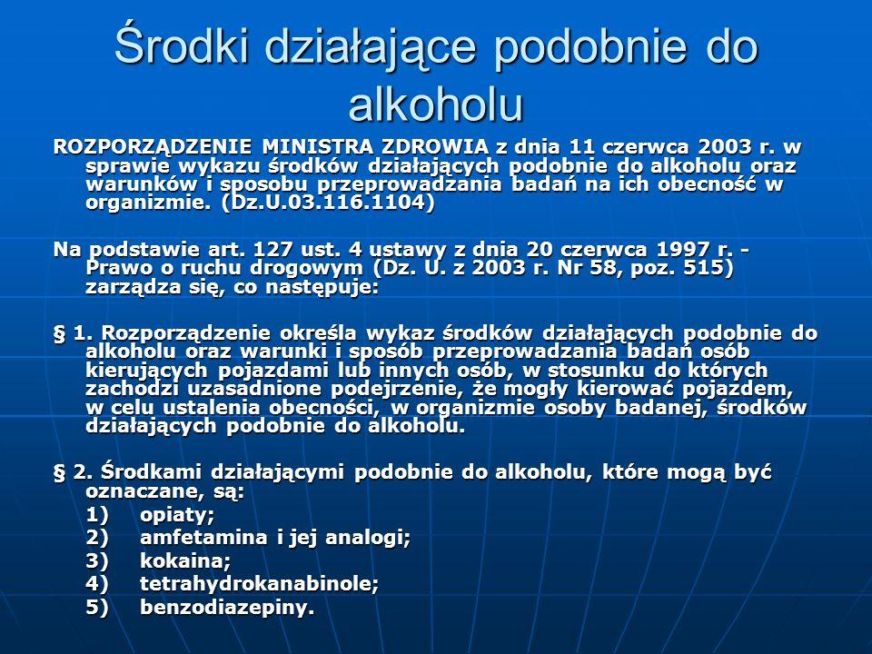 Środki działające podobnie do alkoholu ROZPORZĄDZENIE MINISTRA ZDROWIA z dnia 11 czerwca 2003 r. w sprawie wykazu środków działających podobnie do alk