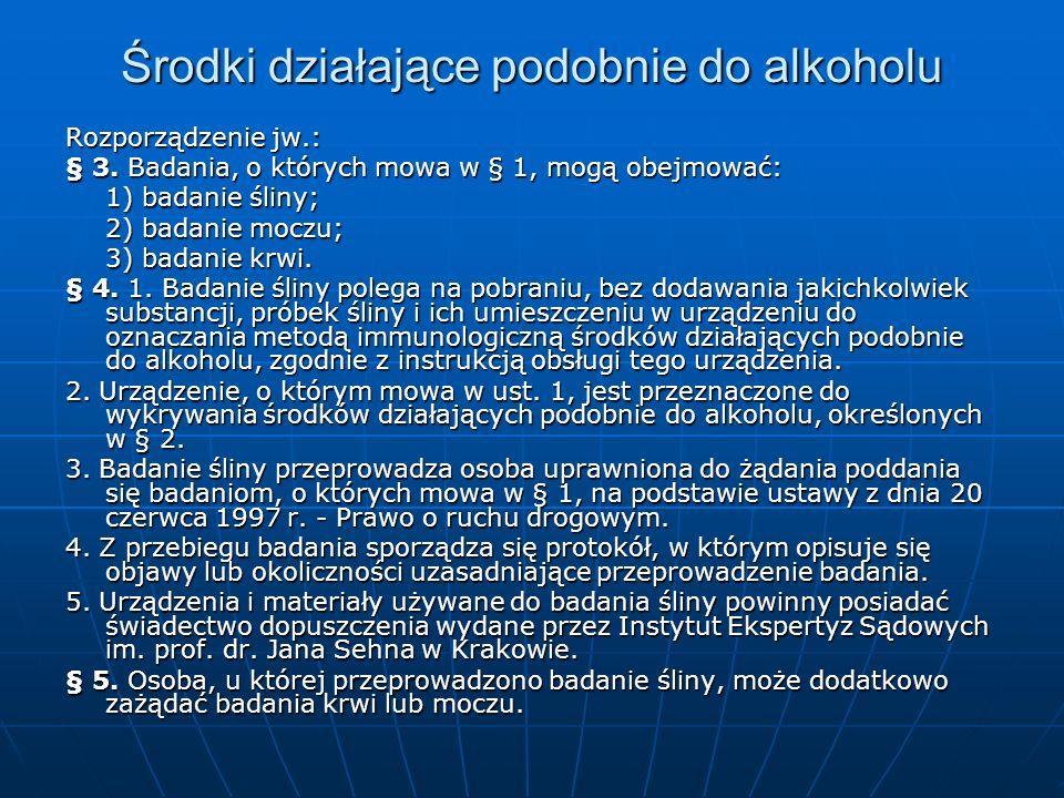 Środki działające podobnie do alkoholu Rozporządzenie jw.: § 3. Badania, o których mowa w § 1, mogą obejmować: 1) badanie śliny; 2) badanie moczu; 3)