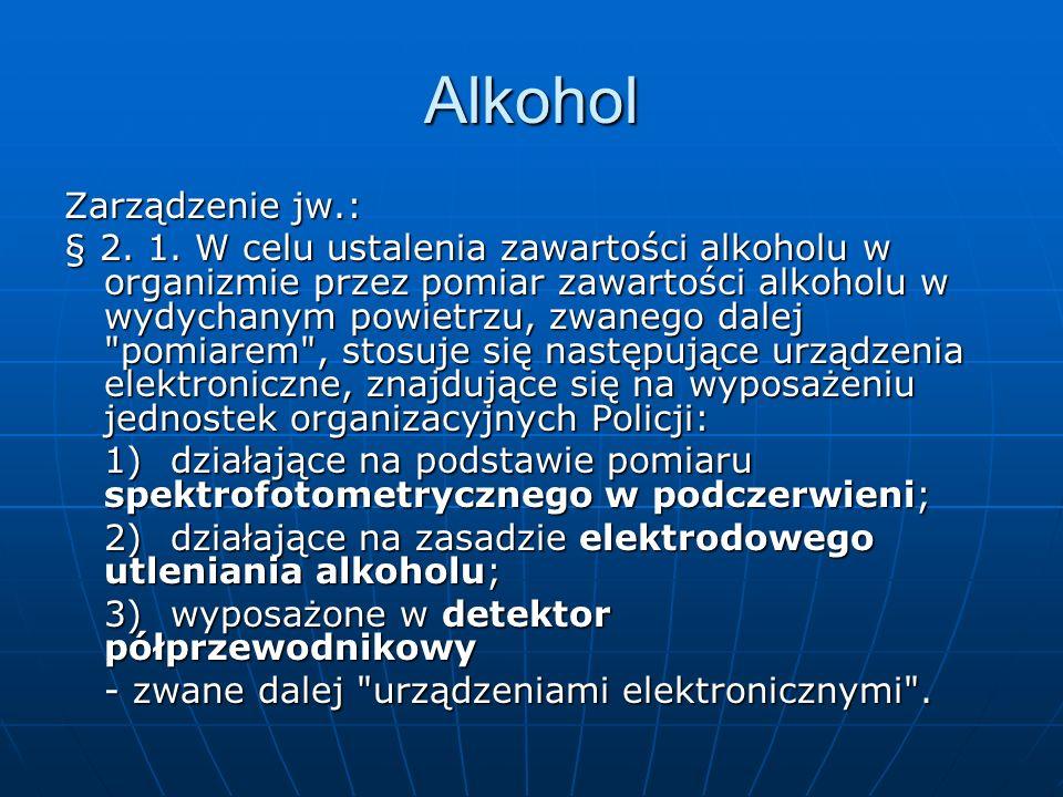 Alkohol Zarządzenie jw.: § 2. 1. W celu ustalenia zawartości alkoholu w organizmie przez pomiar zawartości alkoholu w wydychanym powietrzu, zwanego da