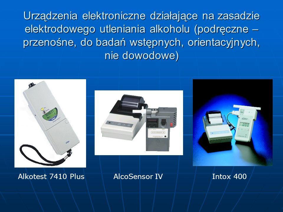 Urządzenia elektroniczne działające na zasadzie elektrodowego utleniania alkoholu (podręczne – przenośne, do badań wstępnych, orientacyjnych, nie dowo
