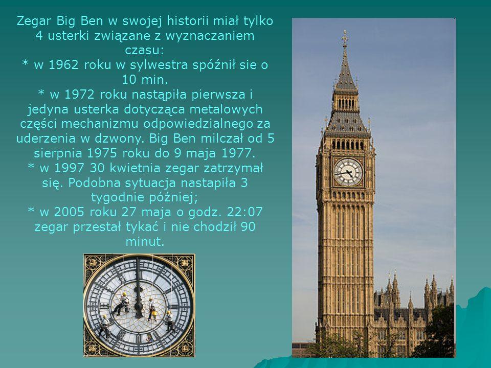 Zegar Big Ben w swojej historii miał tylko 4 usterki związane z wyznaczaniem czasu: * w 1962 roku w sylwestra spóźnił sie o 10 min. * w 1972 roku nast