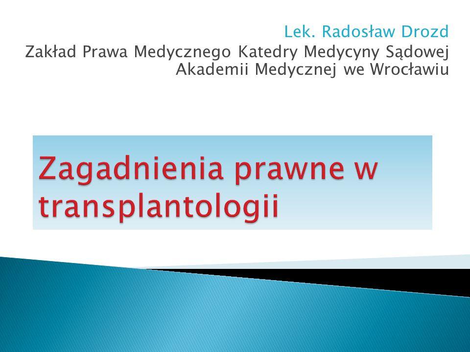 Lek. Radosław Drozd Zakład Prawa Medycznego Katedry Medycyny Sądowej Akademii Medycznej we Wrocławiu
