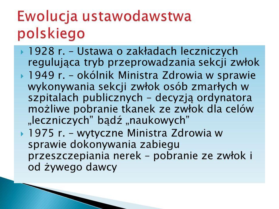 1928 r. – Ustawa o zakładach leczniczych regulująca tryb przeprowadzania sekcji zwłok 1949 r. – okólnik Ministra Zdrowia w sprawie wykonywania sekcji