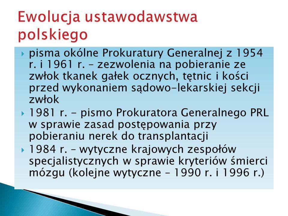 pisma okólne Prokuratury Generalnej z 1954 r. i 1961 r. – zezwolenia na pobieranie ze zwłok tkanek gałek ocznych, tętnic i kości przed wykonaniem sądo