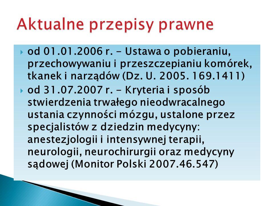 od 01.01.2006 r. - Ustawa o pobieraniu, przechowywaniu i przeszczepianiu komórek, tkanek i narządów (Dz. U. 2005. 169.1411) od 31.07.2007 r. - Kryteri