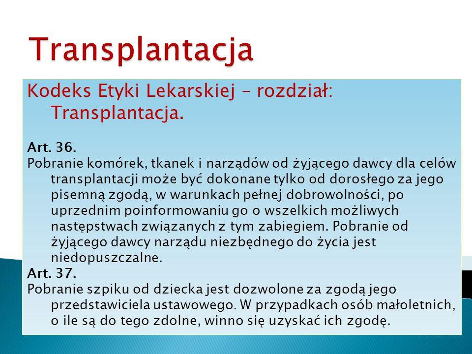 Kodeks Etyki Lekarskiej – rozdział: Transplantacja. Art. 36. Pobranie komórek, tkanek i narządów od żyjącego dawcy dla celów transplantacji może być d