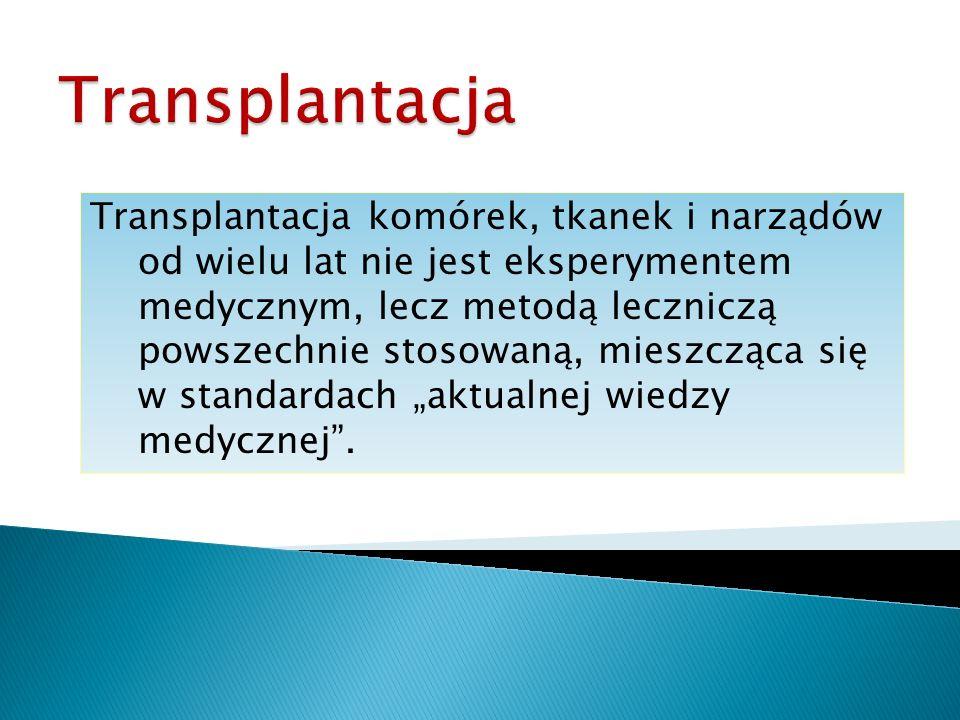 Transplantacja komórek, tkanek i narządów od wielu lat nie jest eksperymentem medycznym, lecz metodą leczniczą powszechnie stosowaną, mieszcząca się w