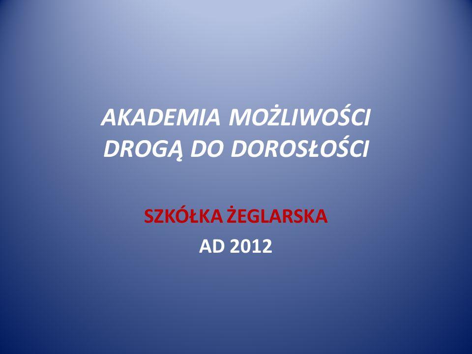 AKADEMIA MOŻLIWOŚCI DROGĄ DO DOROSŁOŚCI SZKÓŁKA ŻEGLARSKA AD 2012
