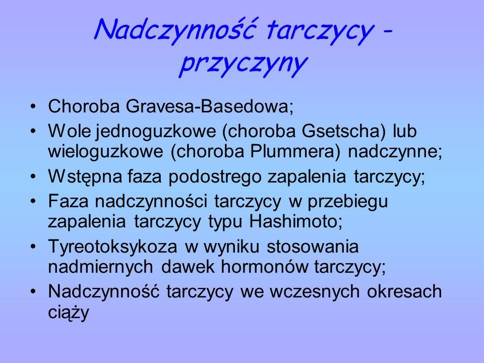 Nadczynność tarczycy - przyczyny Choroba Gravesa-Basedowa; Wole jednoguzkowe (choroba Gsetscha) lub wieloguzkowe (choroba Plummera) nadczynne; Wstępna