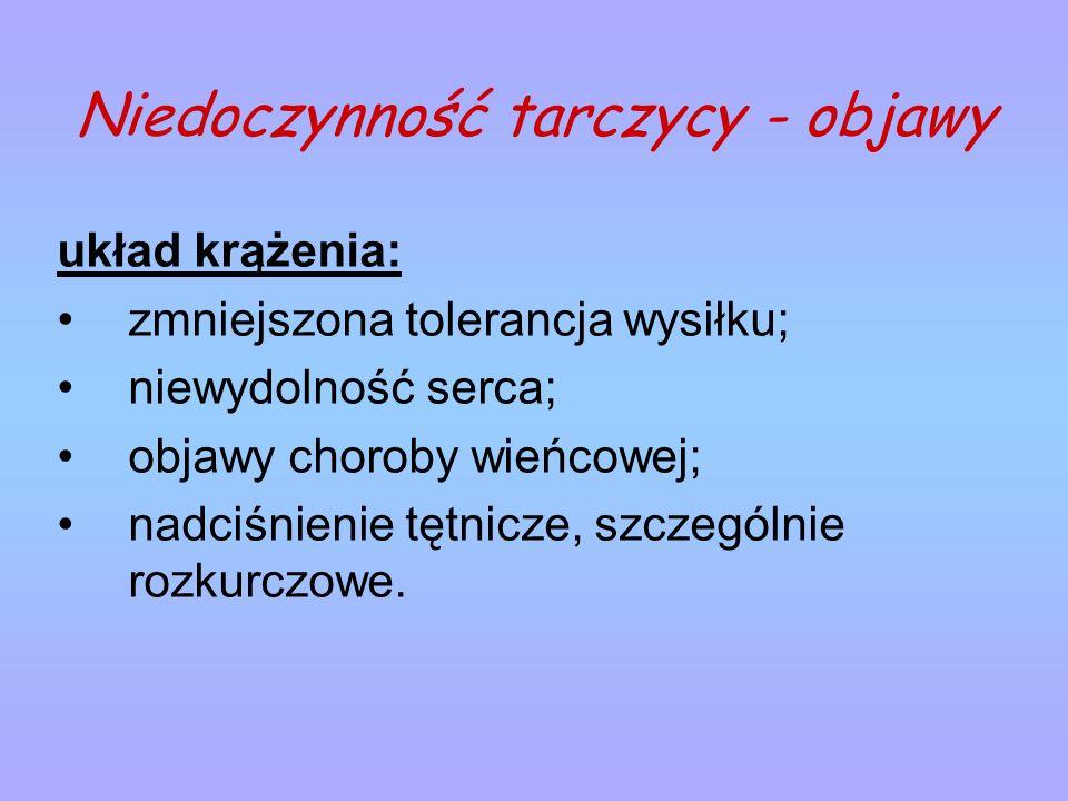 Niedoczynność tarczycy - objawy układ krążenia: zmniejszona tolerancja wysiłku; niewydolność serca; objawy choroby wieńcowej; nadciśnienie tętnicze, s