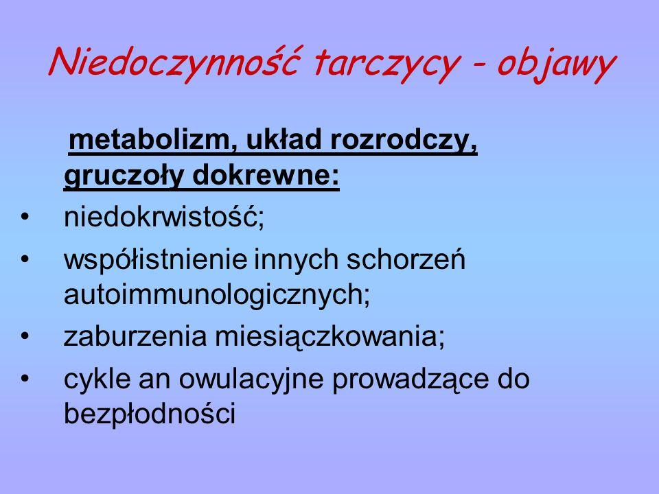 Niedoczynność tarczycy - objawy metabolizm, układ rozrodczy, gruczoły dokrewne: niedokrwistość; współistnienie innych schorzeń autoimmunologicznych; z