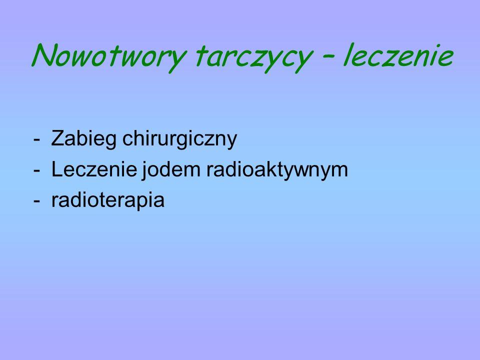 Nowotwory tarczycy – leczenie -Zabieg chirurgiczny -Leczenie jodem radioaktywnym -radioterapia